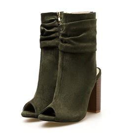 Chunky Heel Plain Side Zipper Casual Boots