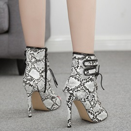 Stiletto Heel Side  Patchwork Casual Boots