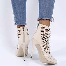 Pointed Toe Back Zip Stiletto Heel Professional Boots