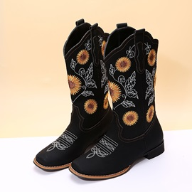 Floral Square Toe Slip-On Ethnic Boots