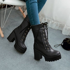 Chunky Heel Round Toe Plain Lace-Up Boots