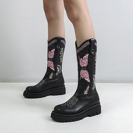 Color Block Round Toe Slip-On Western Boots