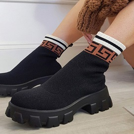 Color Block Slip-On Round Toe Print Boots