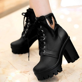 Round Toe Chunky Heel Lace-Up Short Boots