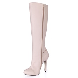Rivets Decorated Stiletto Heel Long Boots