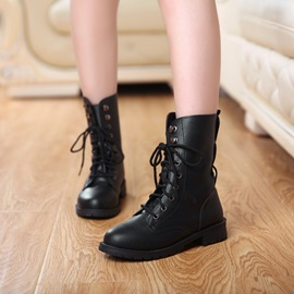Black Round Toe Women's Motorcycle Boots