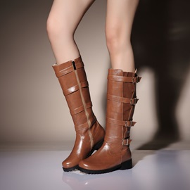 Round Toe Buckles Side Zipper Women's Riding Boots