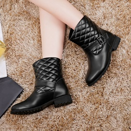 Lattice Embroider Round Toe Motorcycle Boots