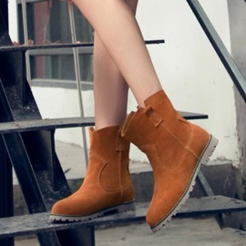 Suede Round Toe Slip-On Moto Boots