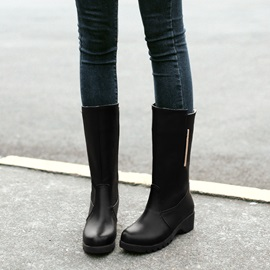 Solid Color PU Slip-On Moto Boots