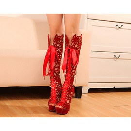 Unique Stiletto Hollow Bowknot Knee-high Boots