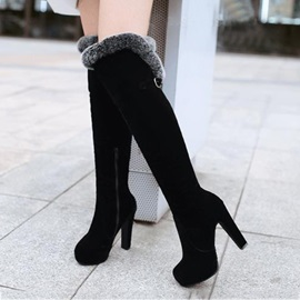Black Round Toe Fur Knee-High Boots