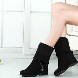 Vintage Solid Color Wedge Knee-high Boots
