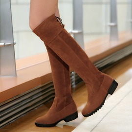 Suede Round Toe Knee High Boots