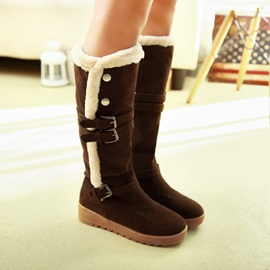Buckles Round Toe Knee High Boots