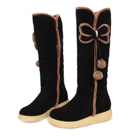 Bowtie Pompom Round Toe Knee High Boots