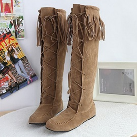 Tassels Suede Lace-Up Knee High Boots