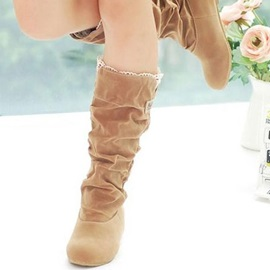 Suede Ruched Elevator Heel Knee High Boots