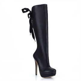 Black PU Back Lace-Up Knee High Boots