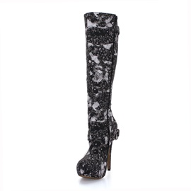 Printed Buckles Stiletto Heel Knee High Boots