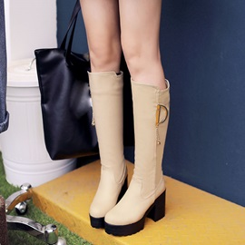 PU Chunky Heel Knee High Boots