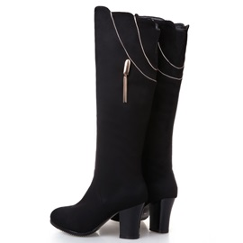Suede Chunky Heel Side-Zip Knee High Boots