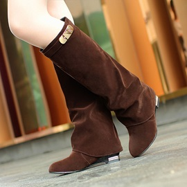 Suede Sequins Knee High Boots