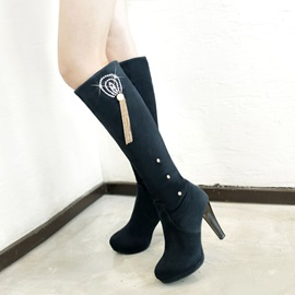 Rhinestone Suede Knee High Boots