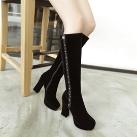 Studded Suede Chunky Heel Knee High Boots