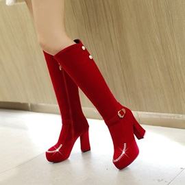 Rhinestone Suede Side-Zip Knee High Boots