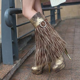 Metallic Tassels Platform Knee High Boots