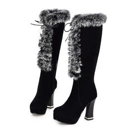 Faux Fur Lace-Up Front Knee High Boots