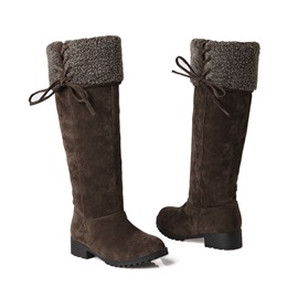 Suede Square Heel Knee High Boots