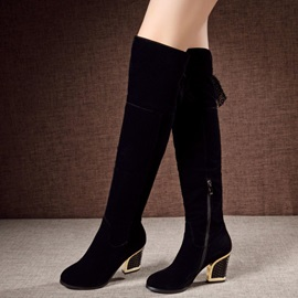 Suede Chunky Heel Zippered Thigh High Boots