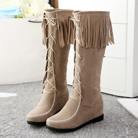 Suede Tassels Lace-Up Front Knee High Boots