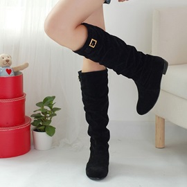 Suede Slip-On Knee High Boots