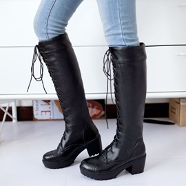 Solid Color Lace-Up Knee High Martin Boots
