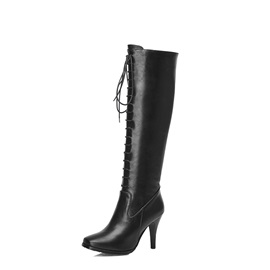 Solid Color Square Heel Lace-Up Knee High Boots