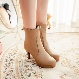 Solid Color Round Toe Platform Booties