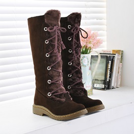 Suede Knee High Lace-Up Martin Boots