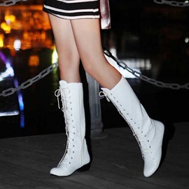 Solid Color Round Toe Lace-Up Boots