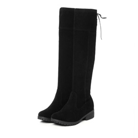 Solid Color Suede Knee High Boots