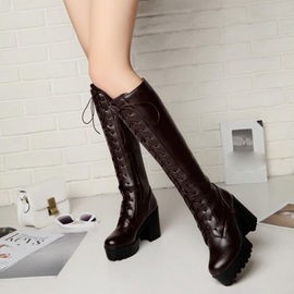 Solid Color Chunky Heel Lace-Up Knee High Boots