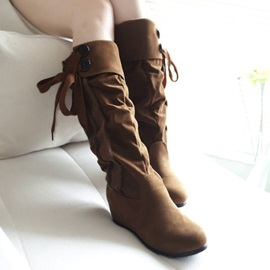 Suede Ruched Knee High Boots