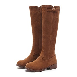 Suede Slip-On Knee High Martin Boots