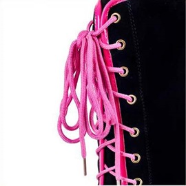 Suede Round Toe Lace-Up Knee High Boots