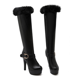 Purfle Buckles Stiletto Heel Knee High Boots