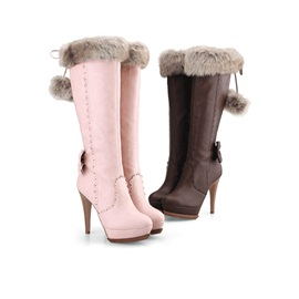 Bowtie Pompom Stiletto Heel Knee High Boots