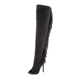 Peep-Toe Tassels Zippered Knee High Boots