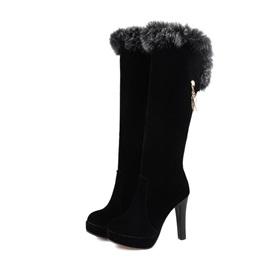 Purfle Suede Slip-On Knee High Boots
